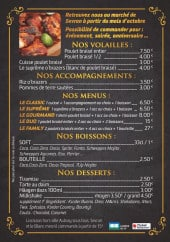 Menu O'brazers - Volailles, accompagnements, menus,...