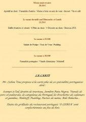 Menu O Lisboa - Les menus