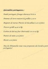 Menu O Lisboa - Les spécialités Portugaise