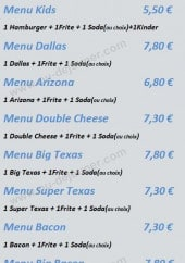 Menu Europizza Texas Burger - Menu