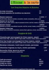 Menu L'encas - Les grandes salades, burgers,....