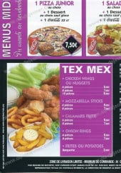 Menu Pizza House - Les menus midi, tex mex...