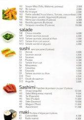 Menu Tokyo sushi - Salades, sushi, sashimi,...