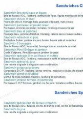Menu La Fromagette - Les sandwiches