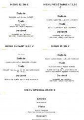 Menu Masala café - Les menus