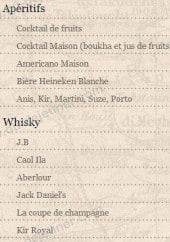 Menu Le Kanoun - Les apéritifs et les whiskys