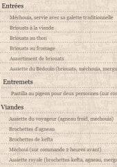 Menu Le Kanoun - Les entrées, les entrements ...