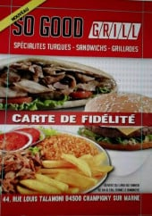 Menu So good grill - Carte et menu So good grill Champigny sur Marne