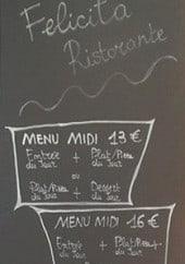 Menu Felicita Ristorante - Les menus midi