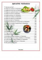 Menu Kin - les spécialités thailandaise