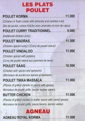 Menu Bharati - Les poulets et agneaux