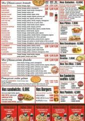Menu Chrono Pizza - Les pizzas, sandwiches, burgers,...