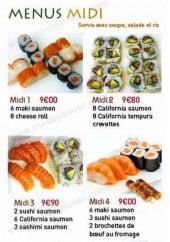 Menu Ikiiki Sushi - Les menus midi