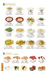 Menu Ikiiki Sushi - Les entrées et sushis
