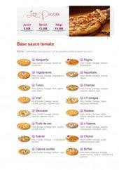 Menu Ô Mil Pâtes - Les pizzas sauce tomate