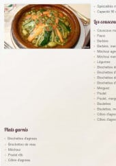 Menu Le Palais de Sousse - Les couscous, plats garnis