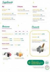 Menu Mama Rice - Suppléments, boissons et desserts