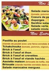 Menu La Table du Maroc - Les entrées