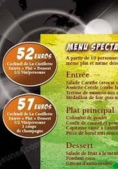 Menu Restaurant  La Cueillette - Un extrait du menu spectacle