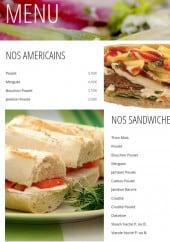 Menu Snack Boulevard de l'océan - Americains et sandwiches