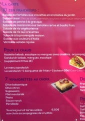 Menu Zen Eat By William - Les salades, sandwiches chauds, vinaigrettes...