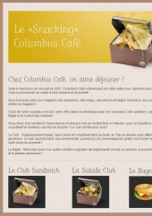 Menu Columbus café & co - Le snacking