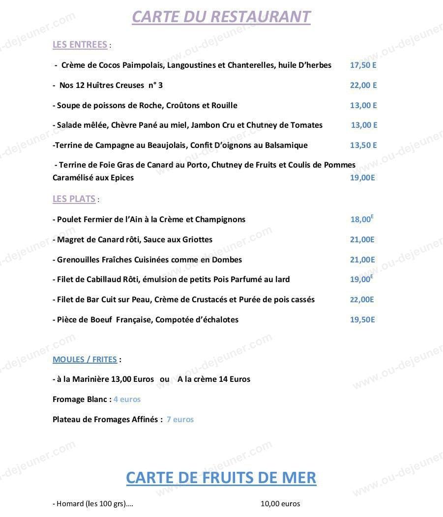 Restaurant Les Voyageurs  Ef Bf Bd Lurcy A La Carte
