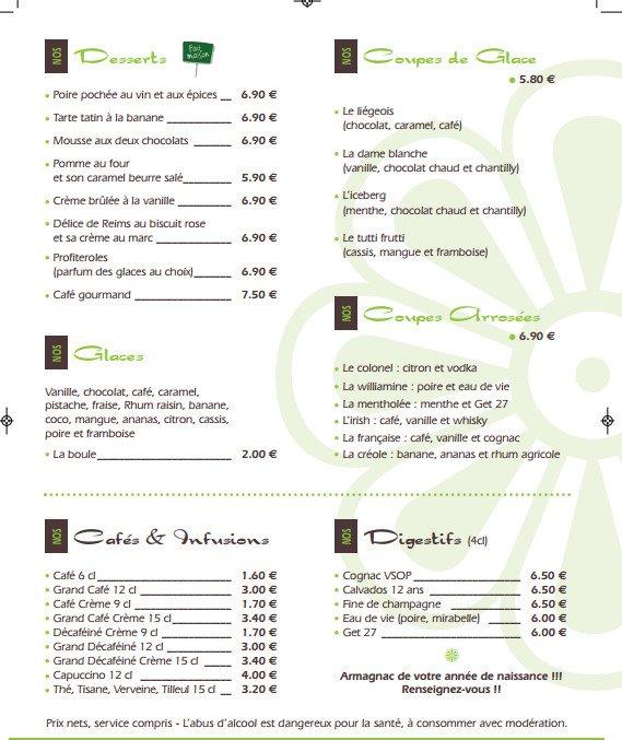Menu Restaurant De La Mairie Berry Au Bac