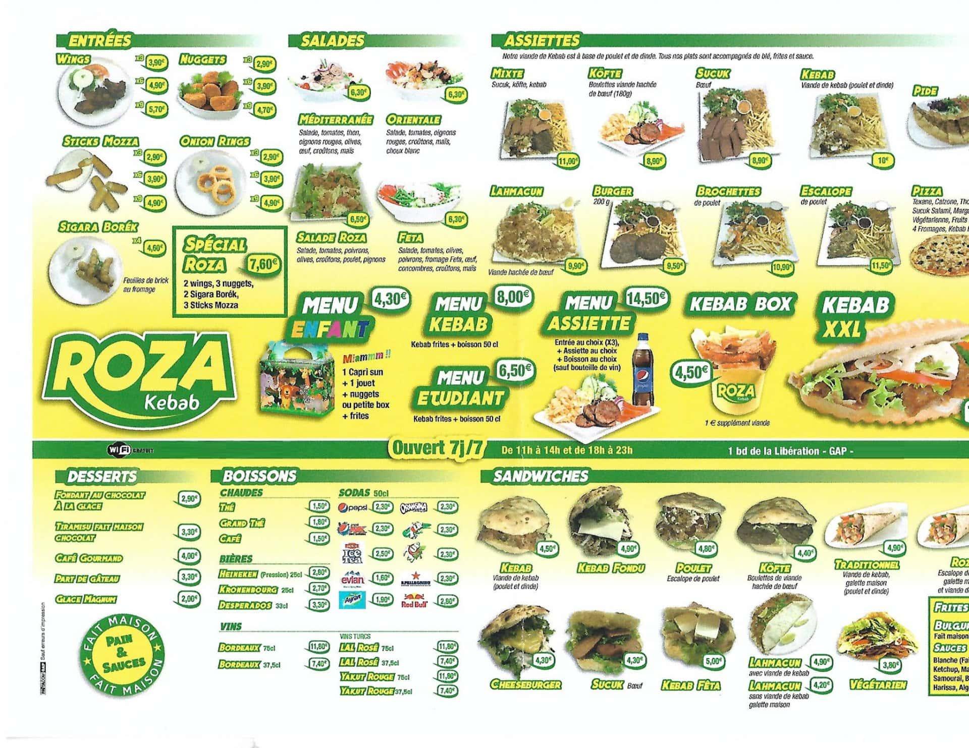 Roza kebab gap carte menu et photos for Menu ete original
