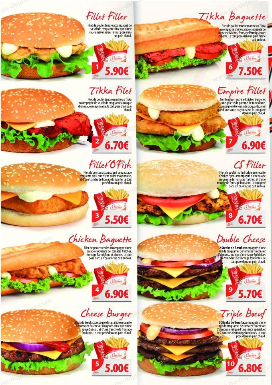 Chicken spot nice carte menu et photos for Menu ete original