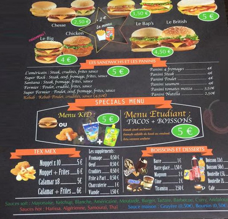 El tacos annonay carte menu et photos for Menu ete original