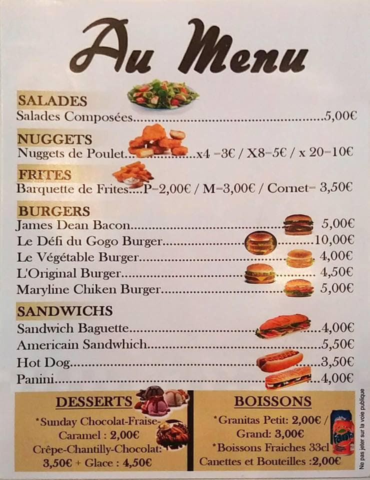 Frite gogo diner 50 39 s charleville mezieres carte menu for Menus sympas et originaux