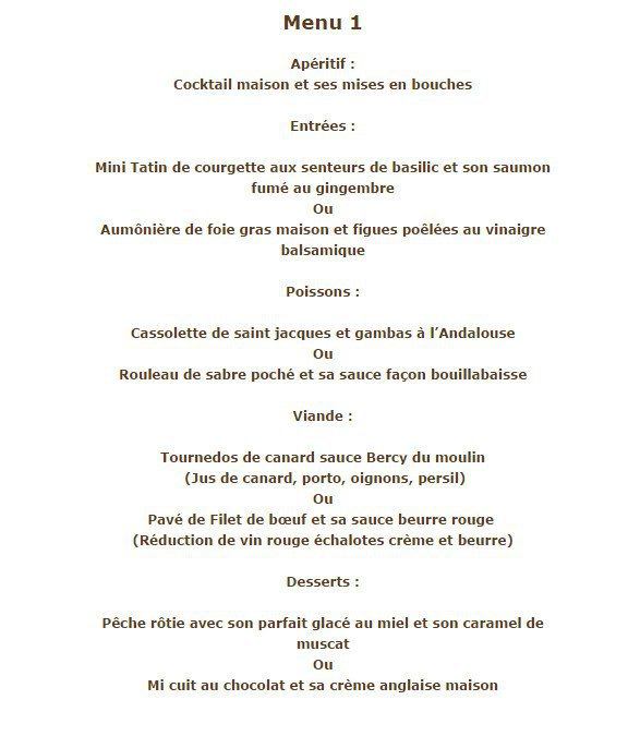 Restaurant Le Moulin Pamiers Menu