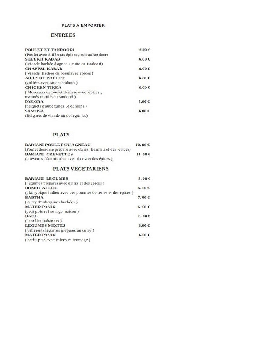 Indra Restaurant Menu