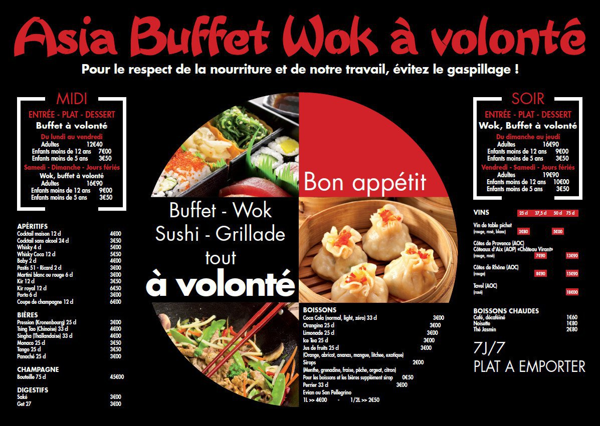 asia buffet wok salon de provence carte menu et photos