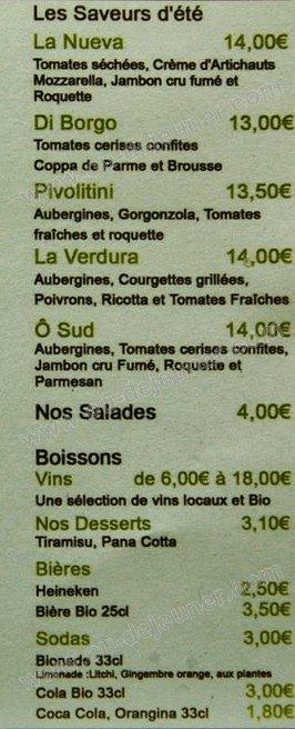 Green 39 piz bouc bel air carte menu et photos for Menu ete original
