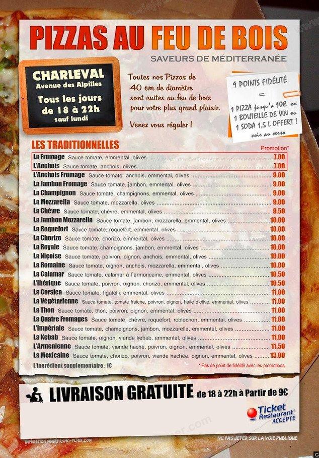 Pizzas Feu De Bois Saveurs Mediterranee A Charleval Carte Menu