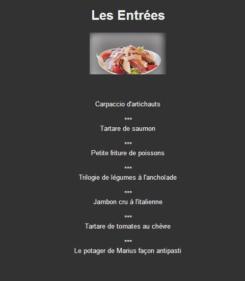 Menu Restaurant Marius