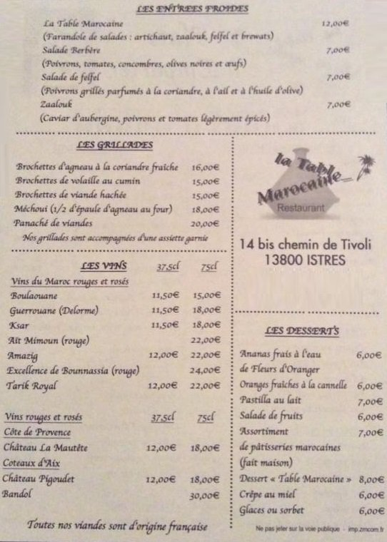 La Table Marocaine Istres Carte Menu Et Photos