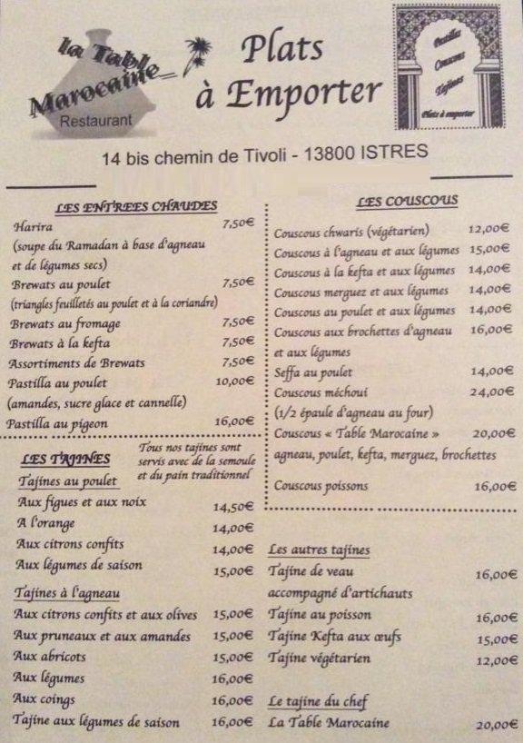 La table marocaine istres carte menu et photos for Menu ete original