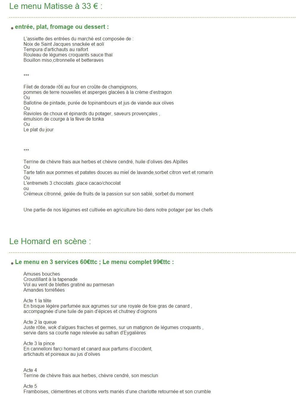 Sous les micocouliers eygalieres carte menu et photos - Mas de l amarine ...