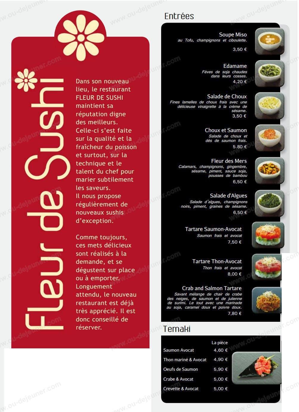 fleur de sushi à caen, carte et menu en ligne