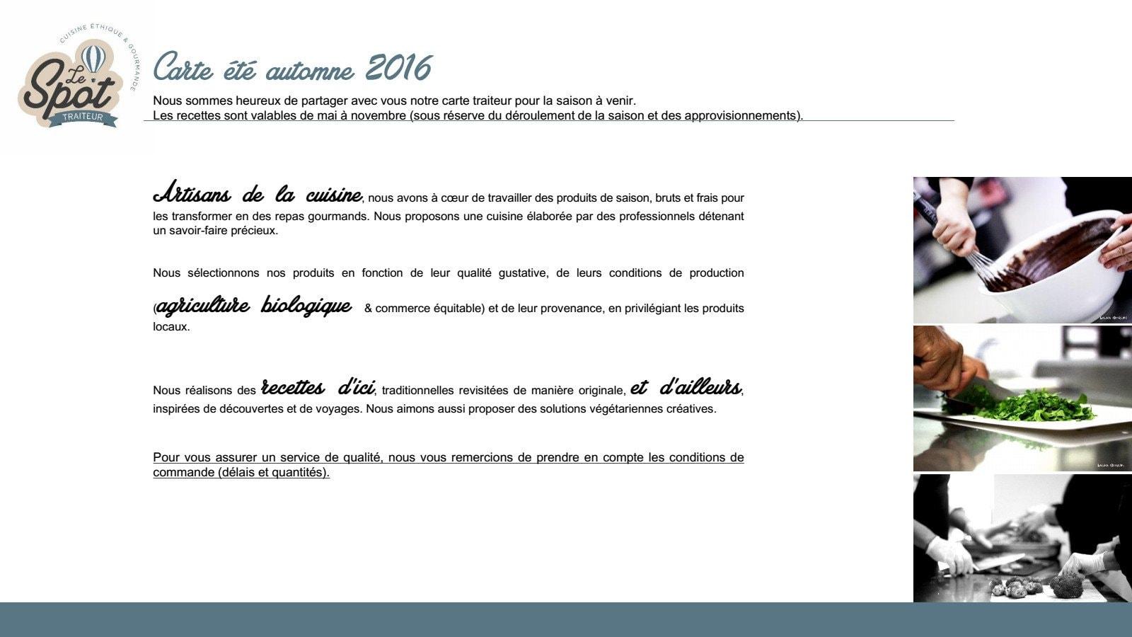 Le spot caen carte menu et photos for Menu ete original