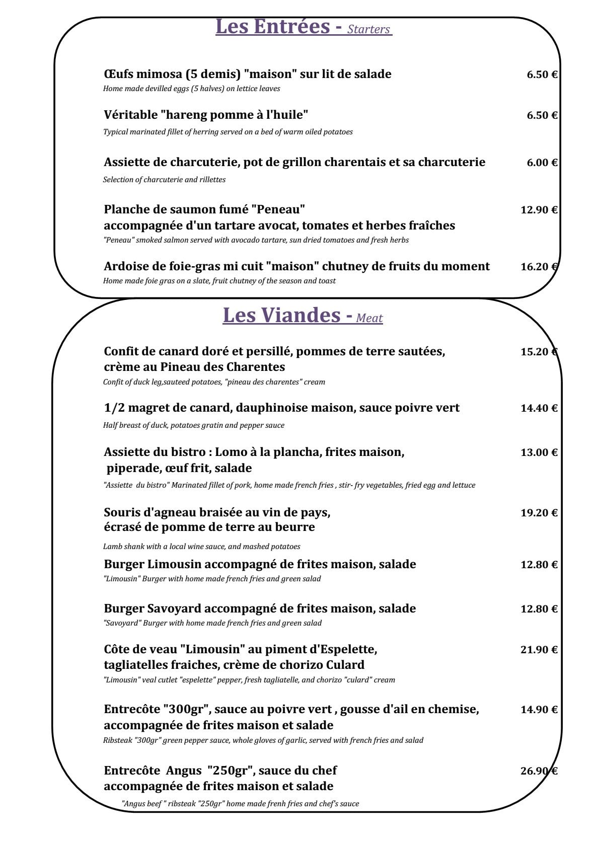 Restaurant L Atelier Cognac Menu
