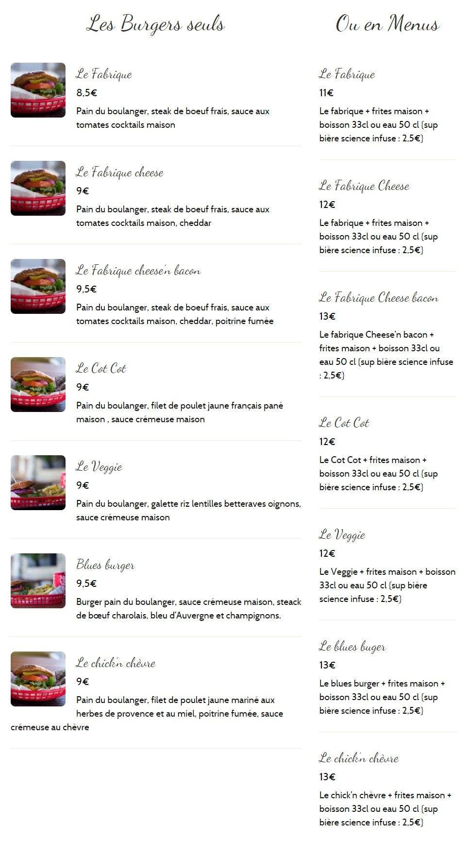 la fabrique burgers la rochelle carte menu et photos. Black Bedroom Furniture Sets. Home Design Ideas