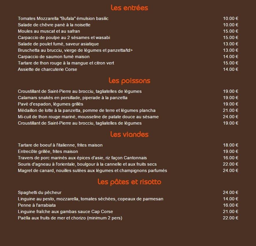 Carte Corse Restaurant.Restaurant Le Mille Sabords A Lumio Carte Menu Et Photos