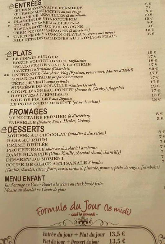 Chez copains dijon carte menu et photos for Menu entre copains