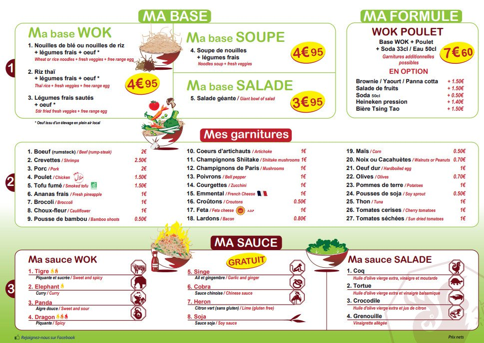 my wok à dijon, carte-menu et photos
