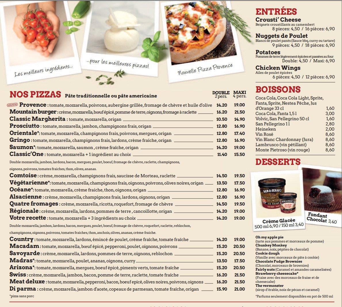 Macadam Pizza à Besancon, carte et menu en ligne