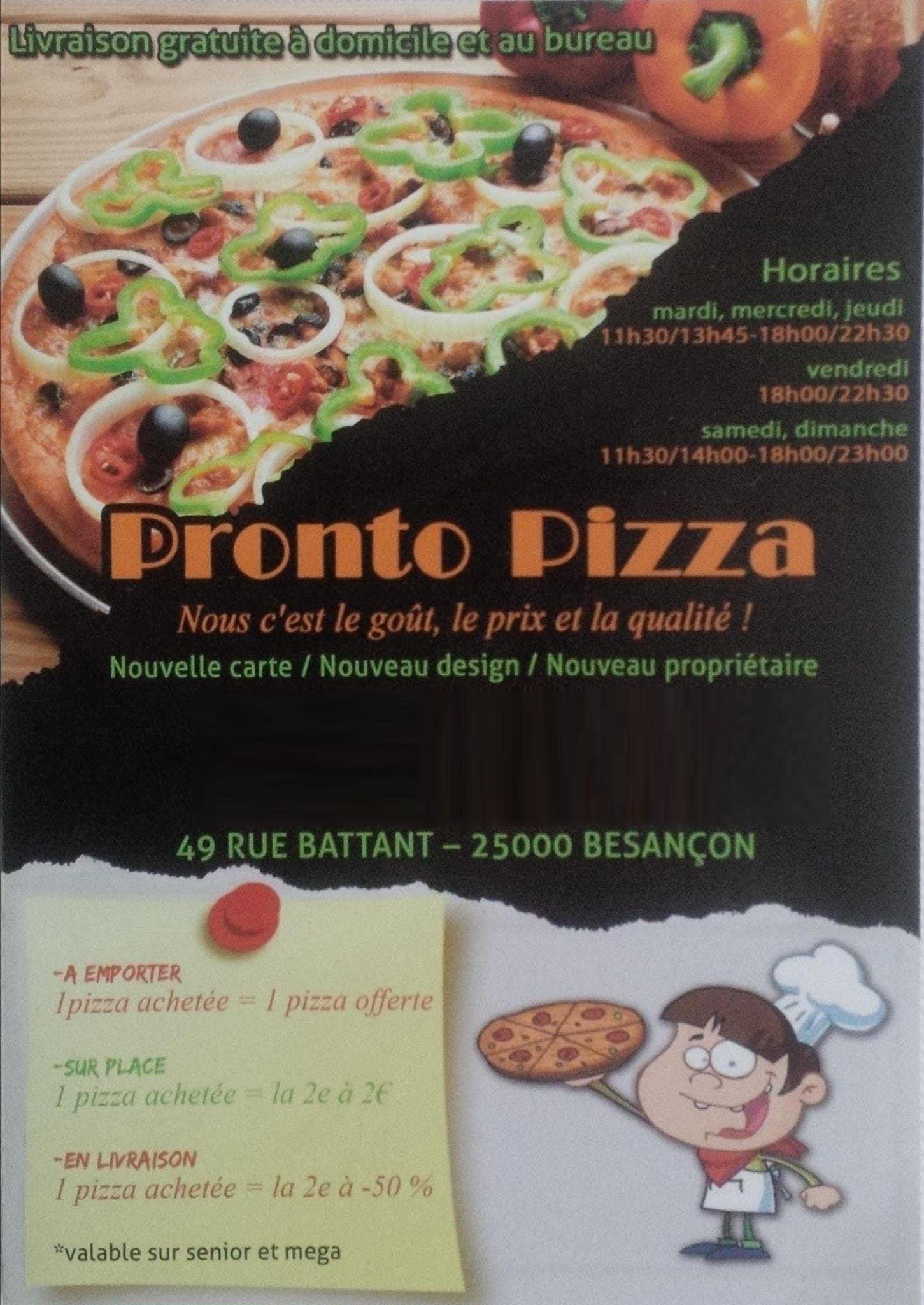 Pronto Pizza à Besancon, carte-menu et photos